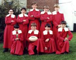 Exeter Cathedral choir - Rugby Sevens team 1982