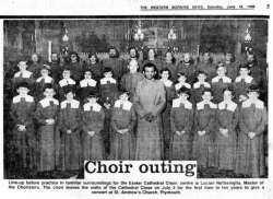 Exeter Cathedral choir - Western Morning News photo 1982
