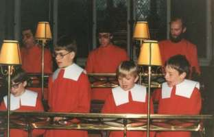 Exeter Cathedral choir - west end of decani 1984
